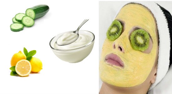 Cucumber, yogurt and lemon mask