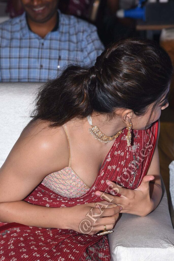 Rashmika Mandanna in Red Saree Hot From Sulthan Movie Pre Release